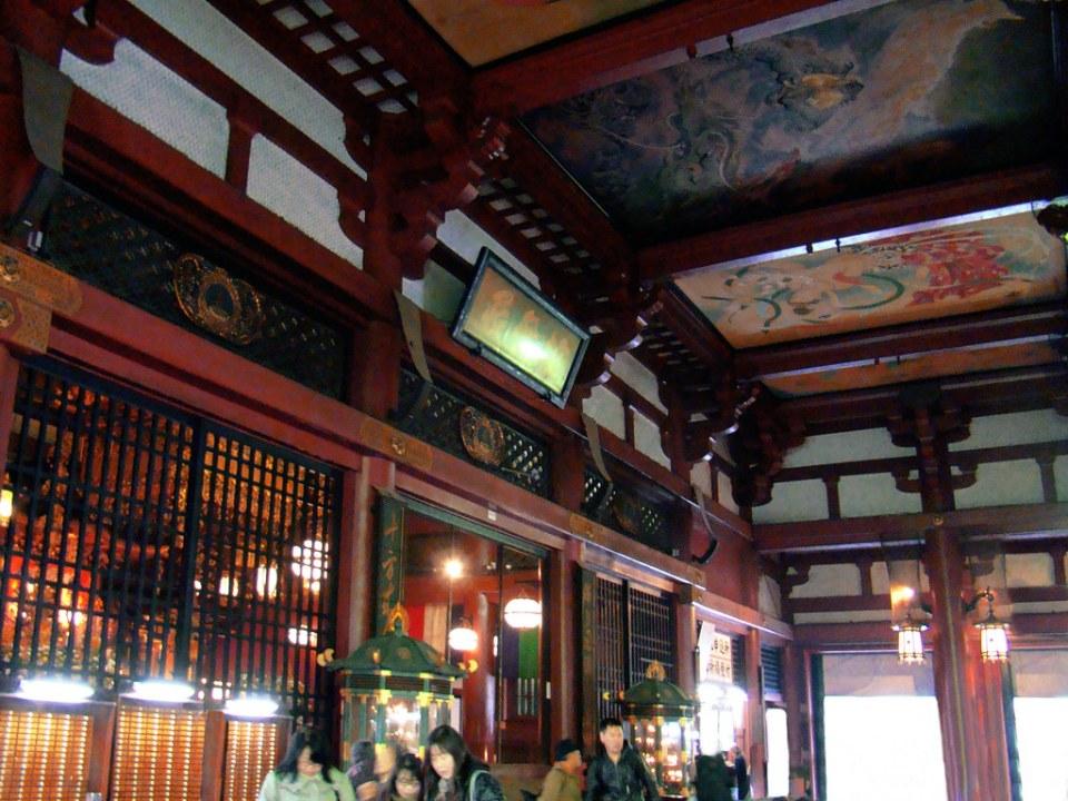 pintura del techo interior salon principal Hondo o Kannon-do Templo Sensoji Tokio Japón 17