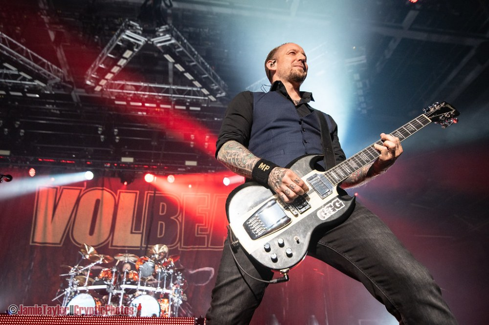 Lead singer Michael Poulsen of Volbeat performing at Abbotsford Centre in Abbotsford, BC on April 26th, 2019