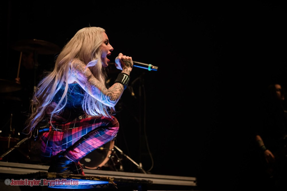 Lead singer Alecia 'Mixi' Demner of Stitched Up Heart performing at Abbotsford Centre in Abbotsford, BC on April 26th, 2019