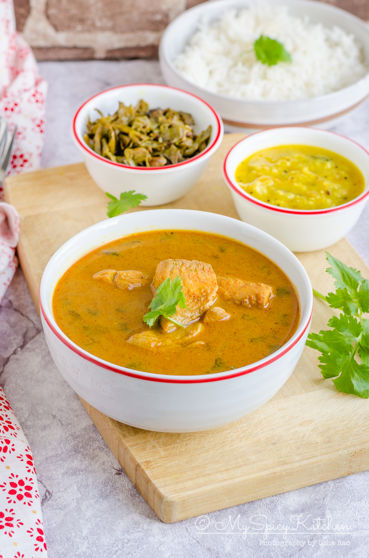 Fish pulusu or chepala pulusu is a tangy fish curry.  It is an onion and tamarind based gravy and pairs well with steamed rice.