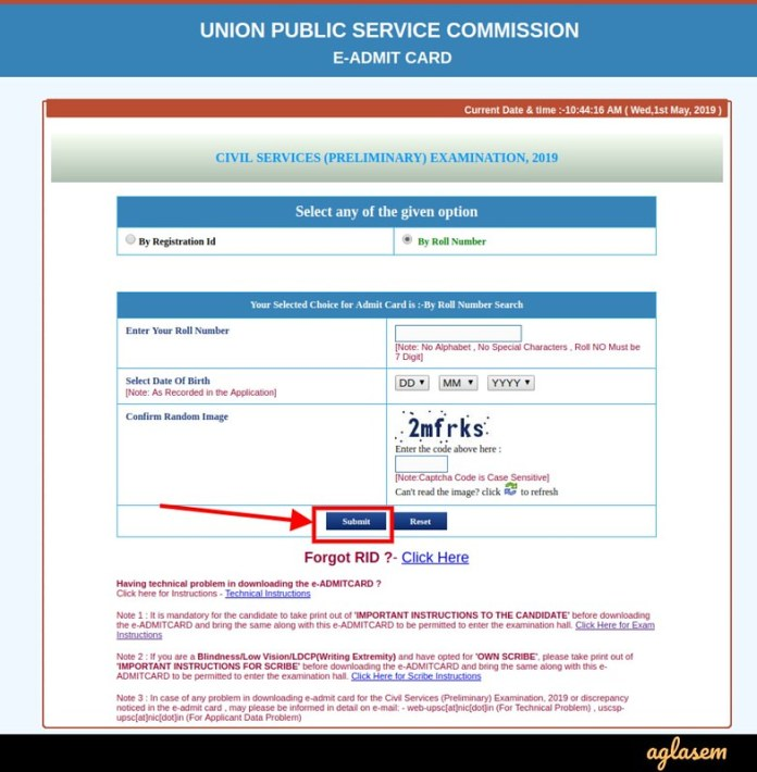UPSC IAS/ Civil Services Admit Card 2019 - Login by Roll Number