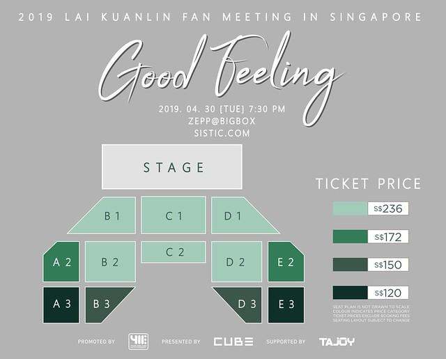 2019 LAI KUANLIN Fan Meeting 'Good Feeling' in Singapore Seating Plan