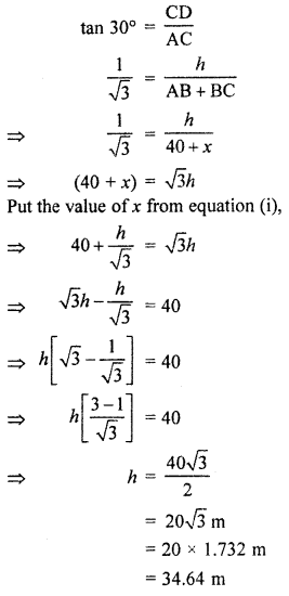 RBSE Solutions for Class 10 Maths Chapter 8 Height and Distance Q.16.2