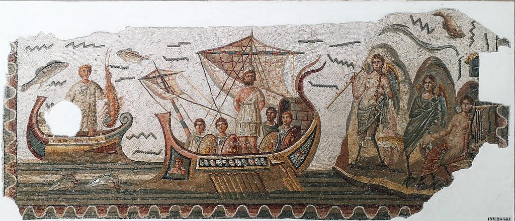 Mosaico Ulises y las sirenas Museo Nacional del Bardo Tunez