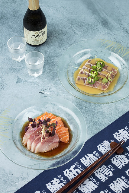 Toro, salmon and hamachi sashimi