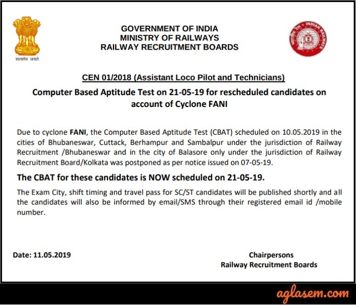 RRB ALP CBT 3 Notice due to cyclone fani