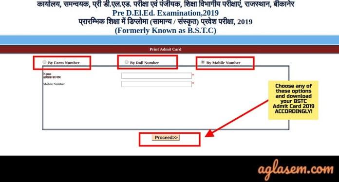 Rajasthan BSTC 2019 Admit Card