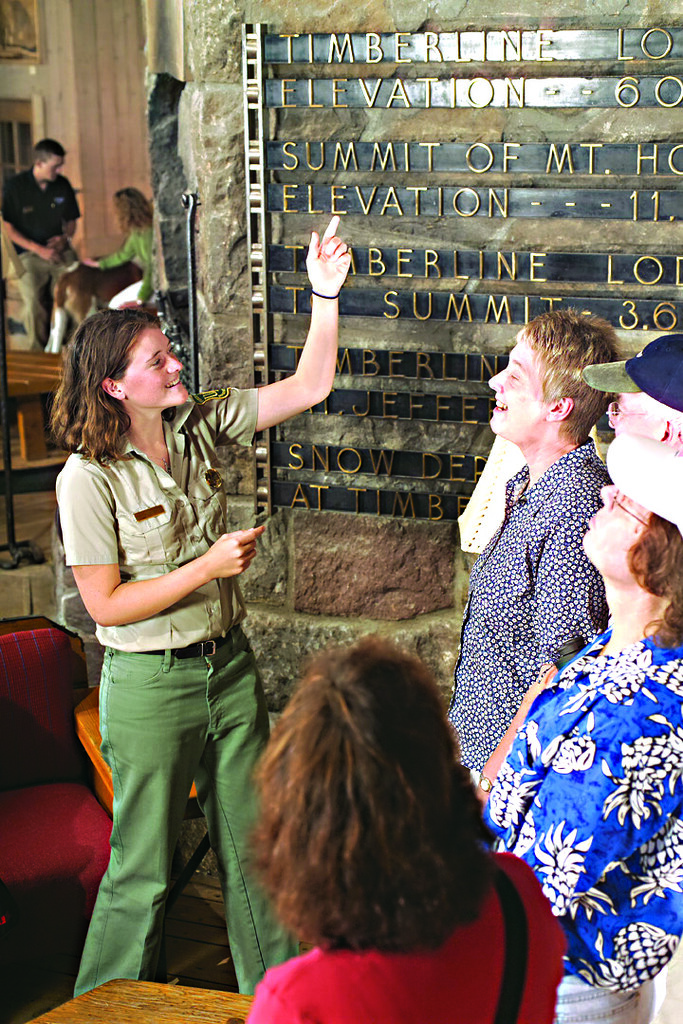 2018_MtHood_Forest Service Ranger with visitors at Timberline Lodge.