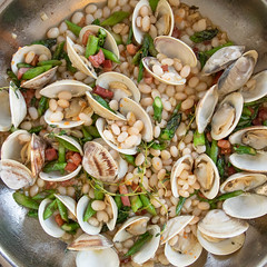 Clams, Asparagus, Pancetta, and Alubia Blanca Beans