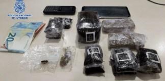 La Policía Nacional detiene a un hombre con 588 gramos de hachís