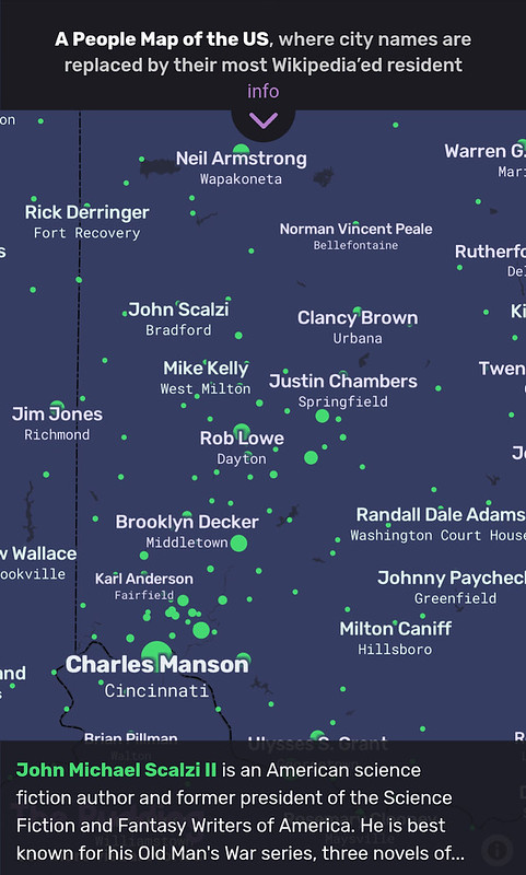 A map with place names replaced by the most notable people from there (according to Wikipedia).