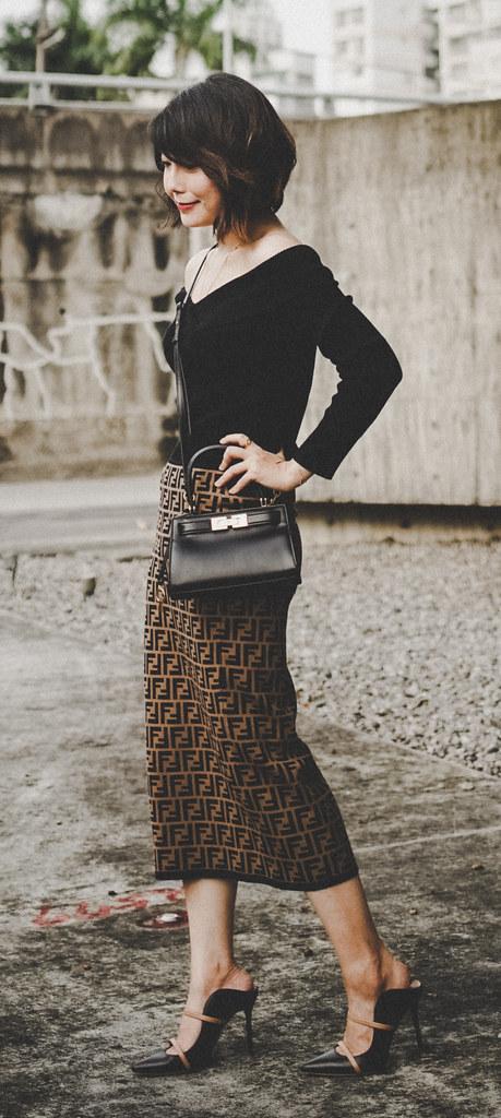 ▌Outfit ▌穿上這兩件就不用減肥:Fendi針織裙 + Black Halo 3/4 Sleeve Jackie O Dress