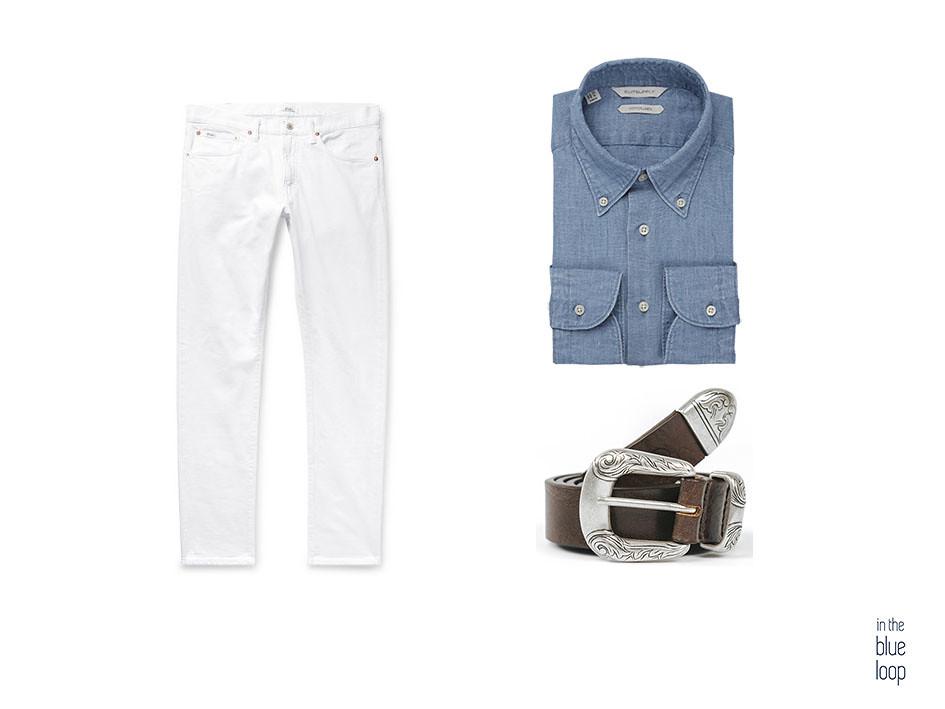 Look casual hombre con cinturón uga de blue hole, camisa azul y vaqueros blancos