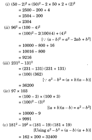 Algebraic Expressions and Identities NCERT Extra Questions for Class 8 Maths Q16