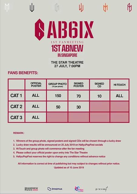AB6IX 1st Fan Meeting '1ST ABNEW' in Singapore Fan Benefit