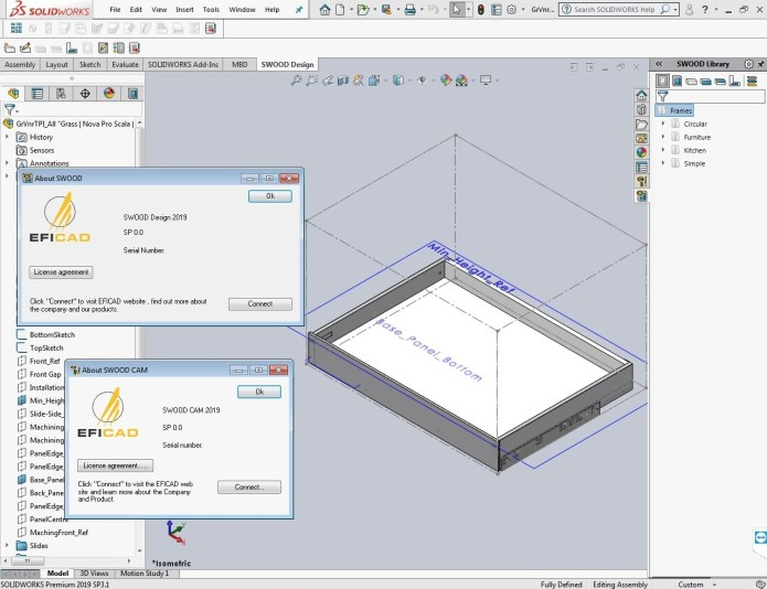 Working with EFICAD SWOOD 2019 SP0 for SolidWorks 2019 full