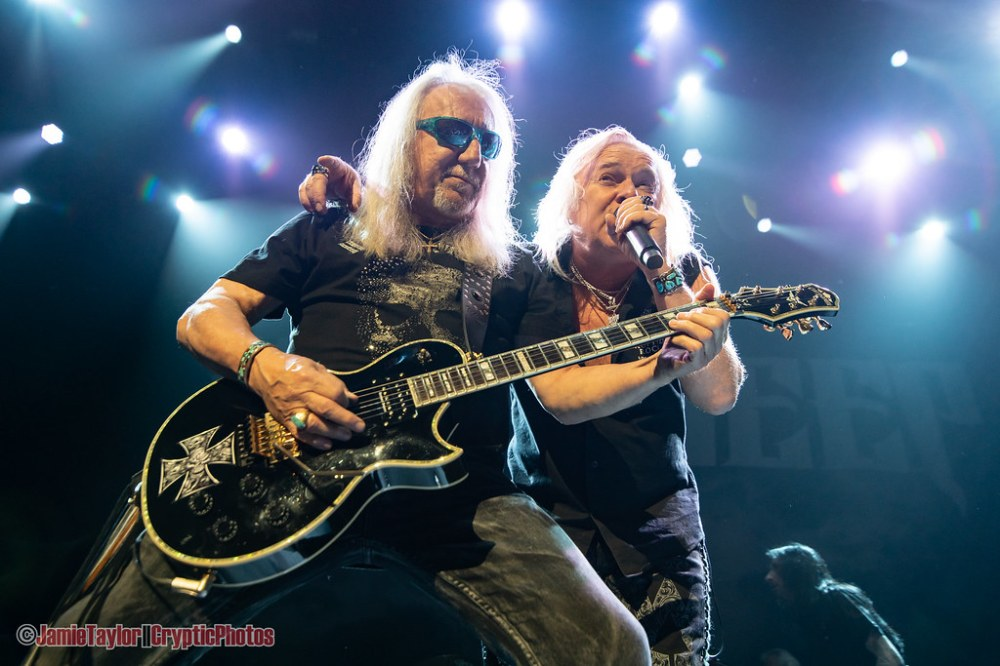 Singer Bernie Shaw and guitarist Mick Box of Uriah Heep performing at Abbotsford Centre in Abbotsford, BC on June 17th, 2019