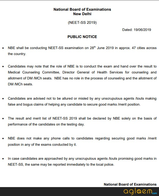 NEET SS 2019 - Result, Cut Off, Counselling | AglaSem Admission