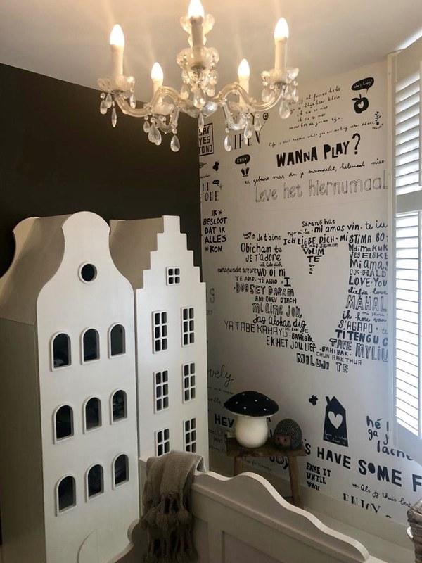 Kinderkamer zwart wit behang met tekst