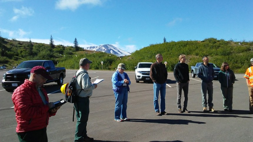 Safety briefing and operational review the morning of the 2018 tunnel and intake gate inspection, photo by U.S. Forest Service.
