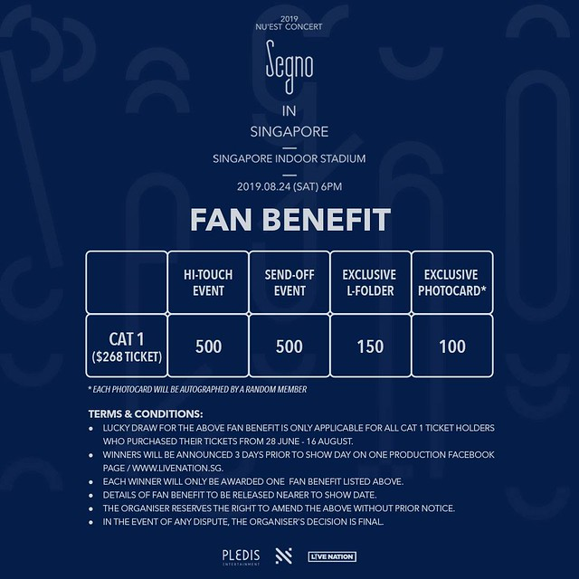 nuest segno tour in singapore fan benefits