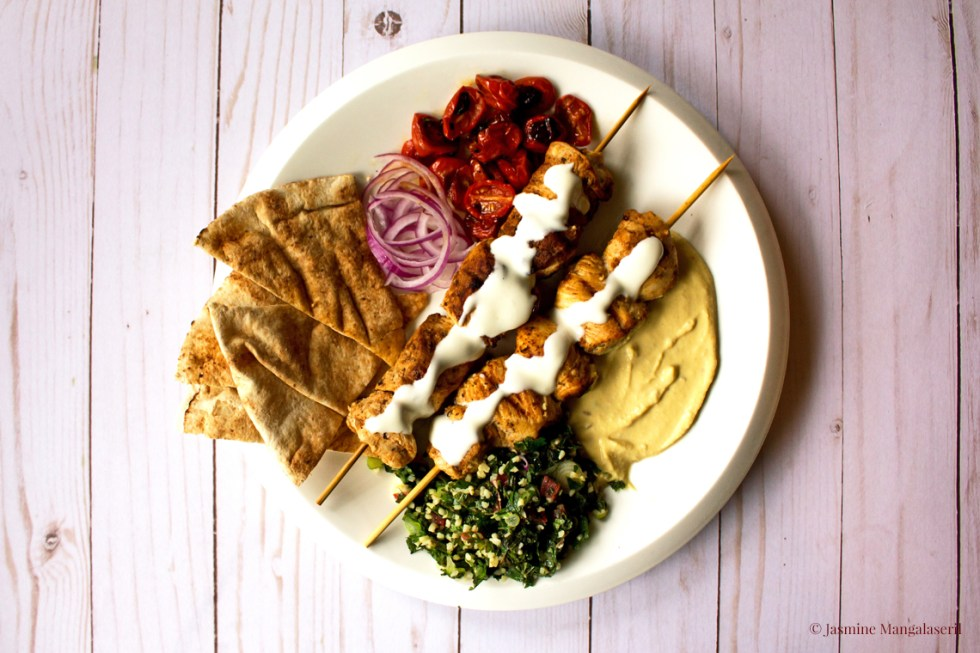 The Al-hendis' Syrian shish taouk on charcoal and tabbouleh