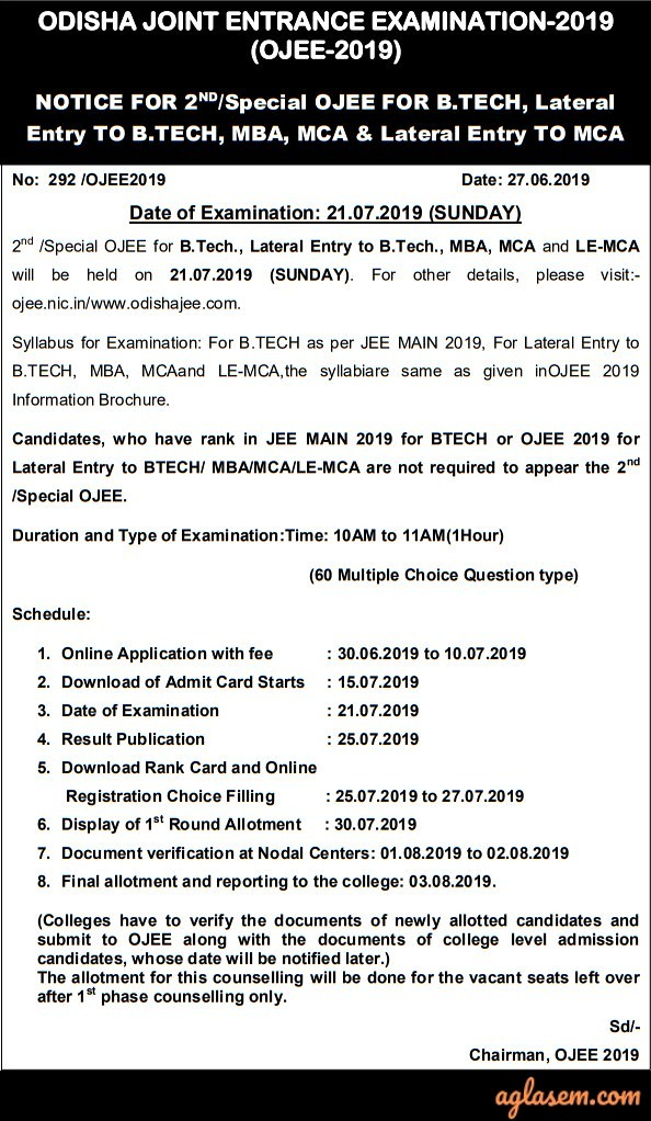 OJEE 2019 - Result, Counselling, Seat Matrix