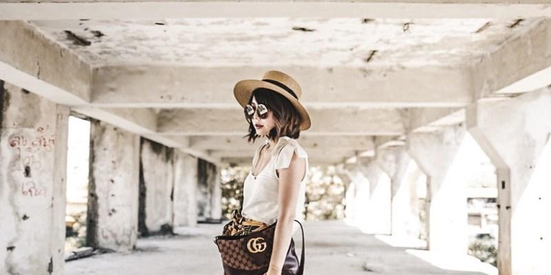 ▌Outfit ▌頹廢的度假風格: Gucci Arli Shoulder Bag + Sezane裙裝 + Cult Gaia涼鞋