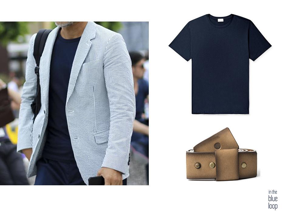 Look de hombre con blazer, camiseta azul y cinturón de piel famara de blue hole