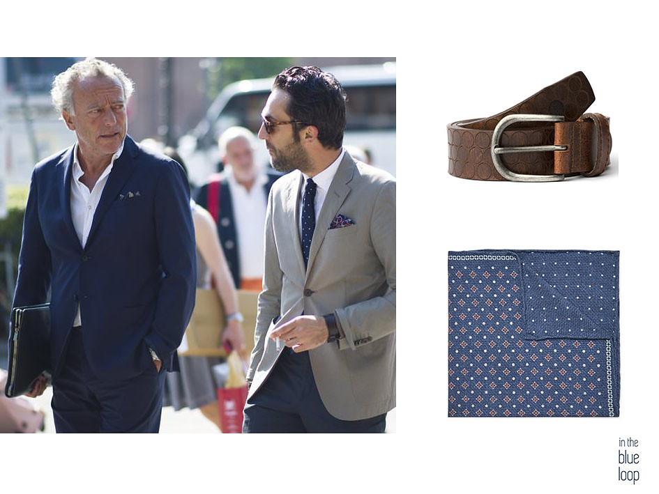 Look smart-casual con blazer, cinturón marrón Nublo de blue hole y pañuelo de bolsillo como complementos