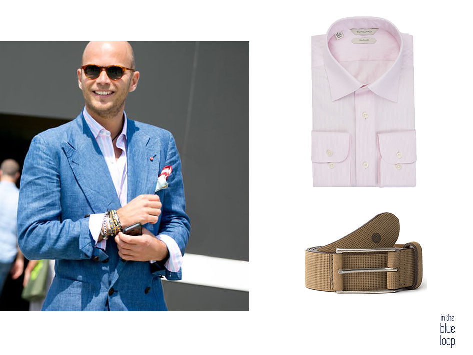 Blazer azul para hombre con cinturón beige Anaga de blue hole y camisa rosa