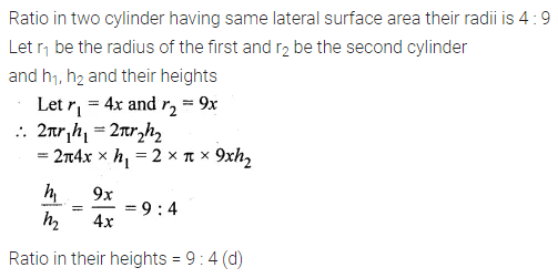 ML Aggarwal Class 10 Solutions for ICSE Maths Chapter 17 Mensuration MCQS Q4