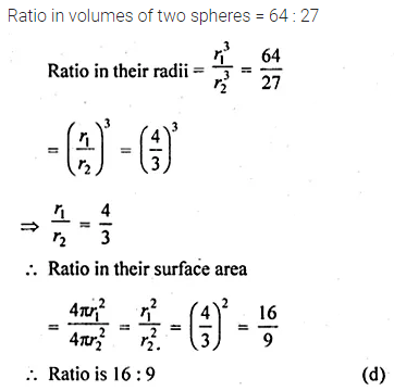 ML Aggarwal Class 10 Solutions for ICSE Maths Chapter 17 Mensuration MCQS Q21