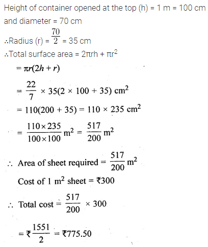 ML Aggarwal Class 10 Solutions for ICSE Maths Chapter 17 Mensuration Chapter Test Q1
