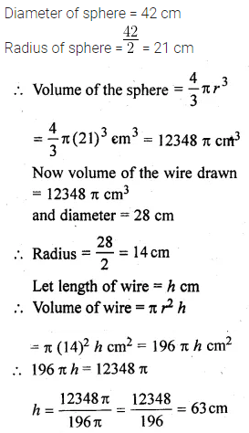 ML Aggarwal Class 10 Solutions for ICSE Maths Chapter 17 Mensuration Chapter Test Q21