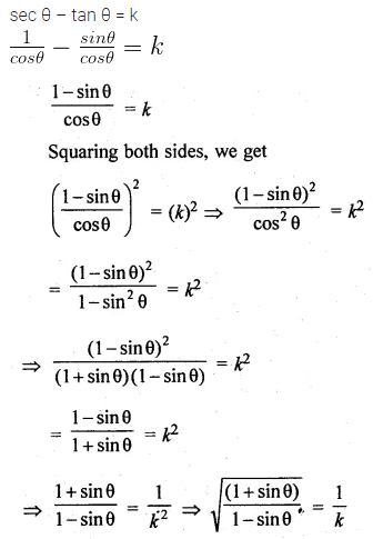 ML Aggarwal Class 10 Solutions for ICSE Maths Chapter 18 Trigonometric Identities MCQS Q7