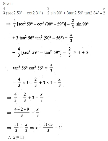 ML Aggarwal Class 10 Solutions for ICSE Maths Chapter 18 Trigonometric Identities Chapter Test Q3