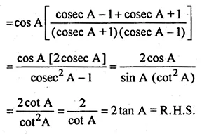ML Aggarwal Class 10 Solutions for ICSE Maths Chapter 18 Trigonometric Identities Chapter Test Q4.1