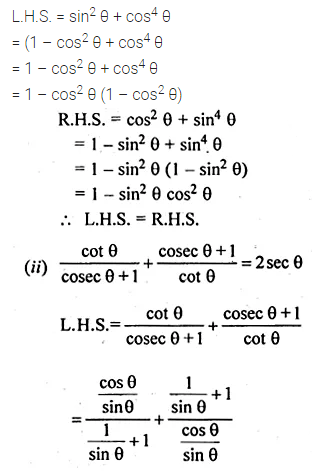 ML Aggarwal Class 10 Solutions for ICSE Maths Chapter 18 Trigonometric Identities Chapter Test Q6