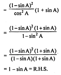 ML Aggarwal Class 10 Solutions for ICSE Maths Chapter 18 Trigonometric Identities Chapter Test Q8.1