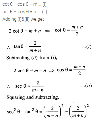 ML Aggarwal Class 10 Solutions for ICSE Maths Chapter 18 Trigonometric Identities Chapter Test Q12