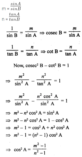 ML Aggarwal Class 10 Solutions for ICSE Maths Chapter 18 Trigonometric Identities Chapter Test Q14