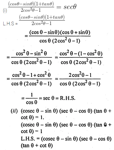 ML Aggarwal Class 10 Solutions for ICSE Maths Chapter 18 Trigonometric Identities Chapter Test Q5