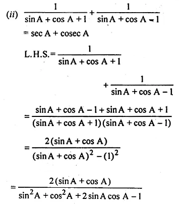 ML Aggarwal Class 10 Solutions for ICSE Maths Chapter 18 Trigonometric Identities Chapter Test Q7.1