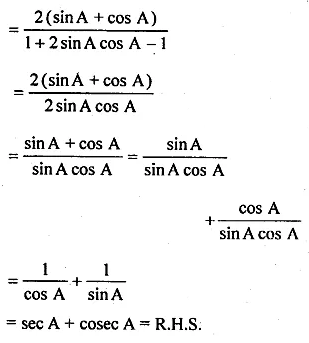 ML Aggarwal Class 10 Solutions for ICSE Maths Chapter 18 Trigonometric Identities Chapter Test Q7.2