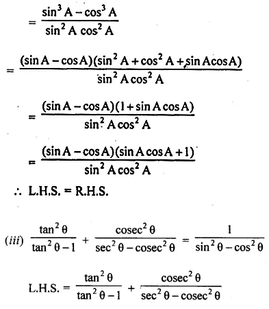 ML Aggarwal Class 10 Solutions for ICSE Maths Chapter 18 Trigonometric Identities Chapter Test Q9.2