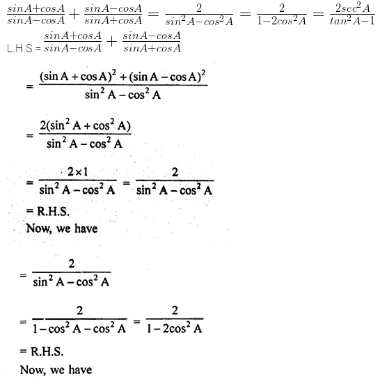 ML Aggarwal Class 10 Solutions for ICSE Maths Chapter 18 Trigonometric Identities Chapter Test Q10