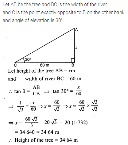 ML Aggarwal Class 10 Solutions for ICSE Maths Chapter 20 Heights and Distances Ex 20 Q5