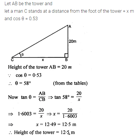 ML Aggarwal Class 10 Solutions for ICSE Maths Chapter 20 Heights and Distances Ex 20 Q11