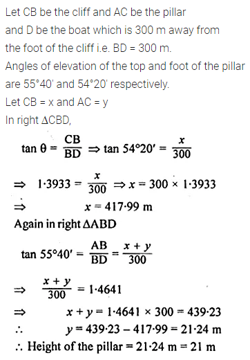 ML Aggarwal Class 10 Solutions for ICSE Maths Chapter 20 Heights and Distances Ex 20 Q14.1